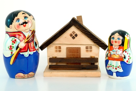 Russian nested dolls and home concept photo