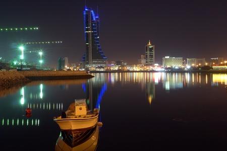 bahrain money:   Manama Bahrain cityscape - night scene                              Stock Photo