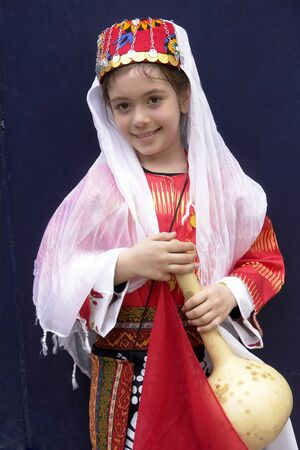 turkish: Little girl in traditional Turkish Ottoman clothes