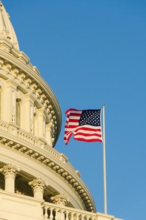 forefathers: US Capitol building with US flag on flagpole - Washington DC  Stock Photo