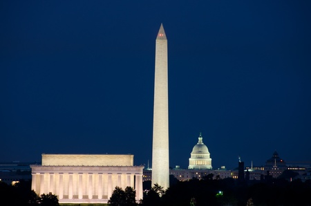 washington monument: Washington DC night scene Stock Photo