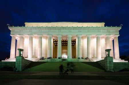 Abraham Lincoln Memorial in de nacht, Washington DC USA Stockfoto