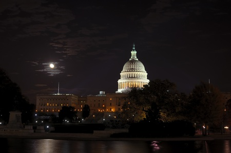Washington DC, Capitol at night in moonlight photo