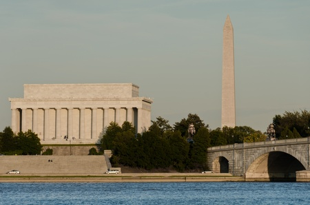 Washington DC - Abraham Lincoln Memorial, Monument and Arlington Bridge on Potomac River  photo