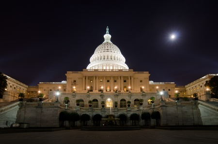 legislative: Washington DC, Capitol at night in moonlight