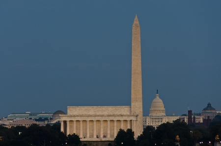 election night: Washington DC, Abraham Lincoln Memorial, Monument and US Capitol at night, Washington DC United States
