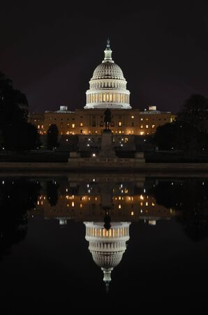 forefathers: Washington DC, Capitol Building with reflection on pool at night