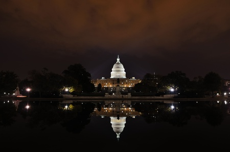 election night: Washington DC, Capitol Building with reflection on pool at night