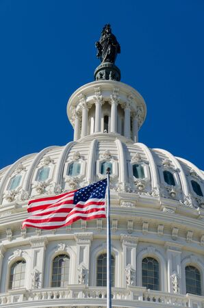 forefathers: US Capitol building detail with US flag - Washington DC