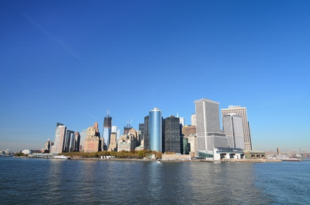 suspension bridge: New York City, Lower Manhattan skyline  Stock Photo