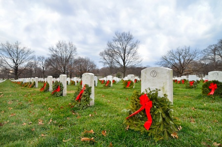 military cemetery: Headstones in Christmas time in Arlington National Cemetery - Washington DC United States  Stock Photo