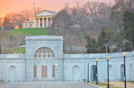 Washington DC, Arlington Cemetery and Arlington House in sunset - United States  photo