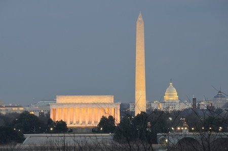 washington state: Washington DC city view in sunrise, including Lincoln Memorial, Monument and Capitol building  Stock Photo