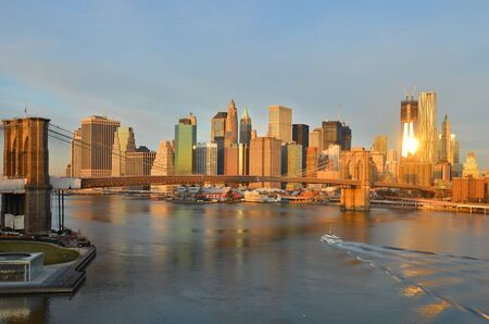 New York City, Brooklyn Bridge in the morning - United States  photo