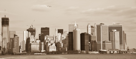 New York City, Lower Manhattan view - Sepia photo