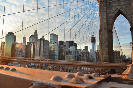New York City, Brooklyn Bridge and lower Manhattan  photo