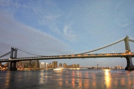 New York City, Manhattan Bridge at night - United States  photo