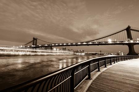 the lower: New York City, Manhattan Bridge at night - United States