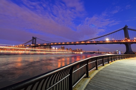 New York City, Manhattan Bridge at night - United States  photo