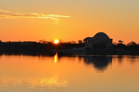 Washington DC, Thomas Jefferson Memorial silhouette at sunrise - United States