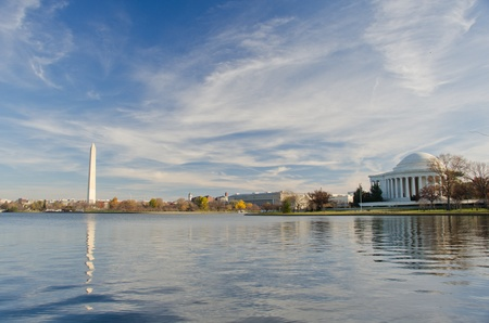 Washington DC National Mall, including Washington Monument and Thomas Jefferson Memorial with mirror reflections on water