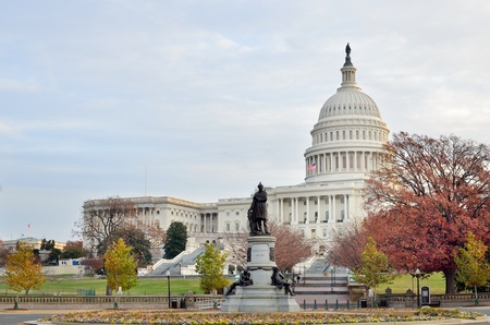 Washington DC, United States Capitol building in autumn Stock Photo