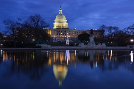 Washington DC, United States Capitol Building and reflection on pond with Christmas tree at sunrise