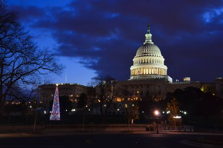 downtown capitol: Washington DC, United States Capitol Building  with Christmas tree at winter sunrise  Stock Photo