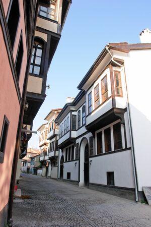 Ottoman style renovated street in Kutahya Turkey  photo