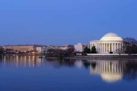 jefferson: Thomas Jefferson Memorial at night with mirror reflection on water, Washington DC United States  Editorial