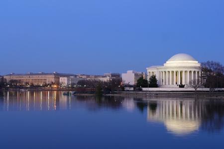 jefferson: Thomas Jefferson Memorial at night with mirror reflection on water, Washington DC United States  Editorial