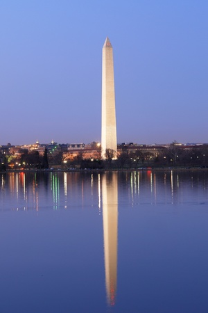 national monuments: Washington Monument at night with mirror reflection on water, Washington DC United States