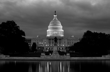 election night: Washington DC, Unites States Capitol Building in black and white