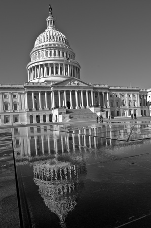 the capitol: Washington DC, United States Capitol Building - Black and White