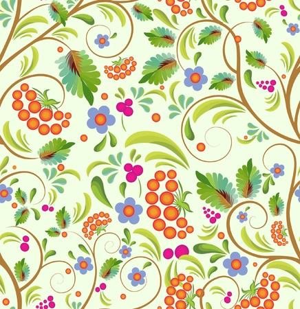 seamless floral background - stylized tree rowanberry Ilustração