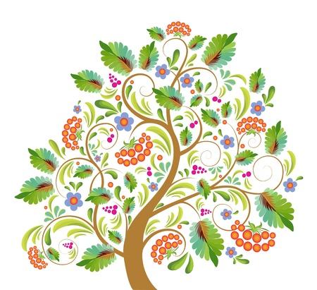 albero stilizzato: Aronia albero stilizzato con con foglio, la frutta e fiori, con pattern in pubblico russo a spillo