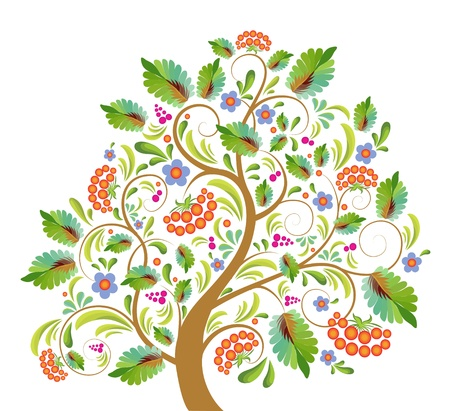 stylized tree rowanberry with with sheet, the fruit and flower, with pattern in public russian stiletto
