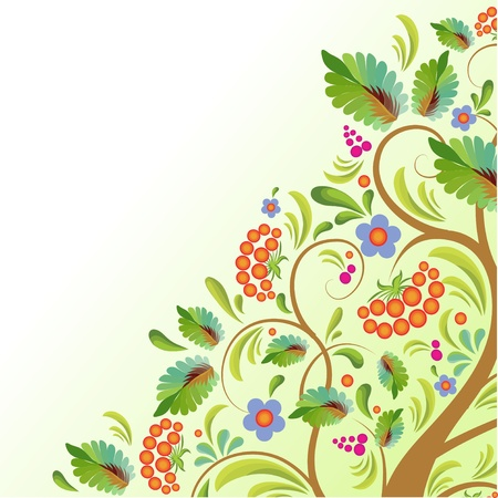 curlicues: stylized tree rowanberry with with sheet, the fruit and flower, with pattern in public russian stiletto