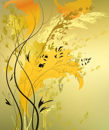 curlicues: abstract background with branch and sheet