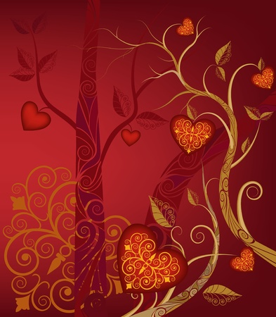 fall in love: abstract tree with fruit in form heart