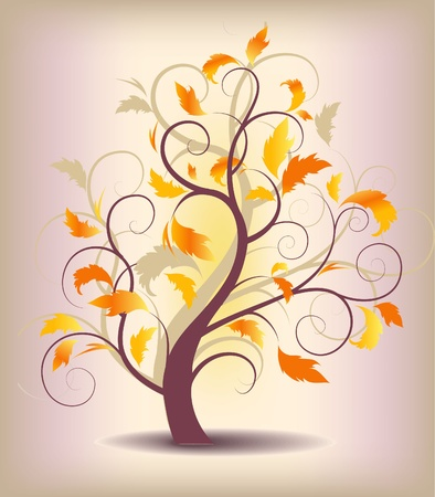 curlicues: abstract background autumn tree with yellow leaves