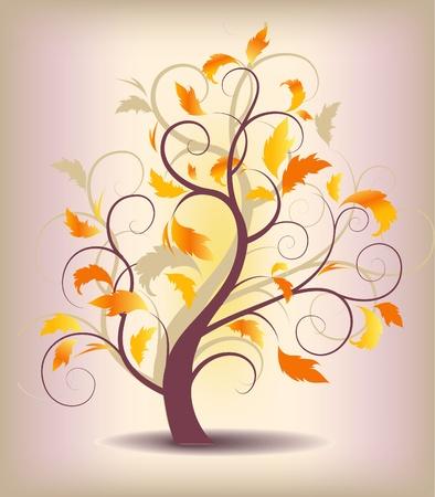 groviglio: astratto autunno albero fondo con le foglie gialle