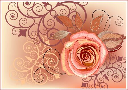 Abstract background with rose in orange and brown colors