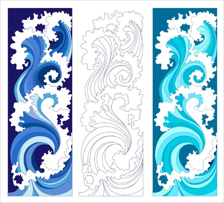 abstract waves, vertical banners Vettoriali