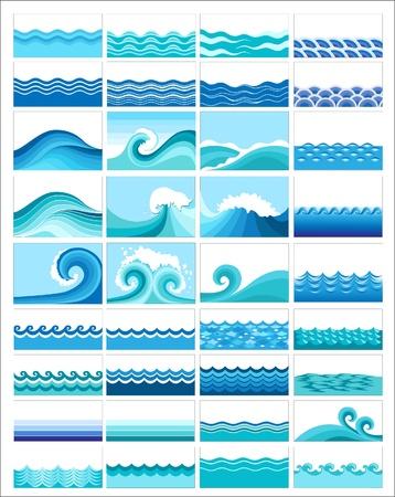 conjunto de ondas marinas, diseño estilizado Ilustración de vector