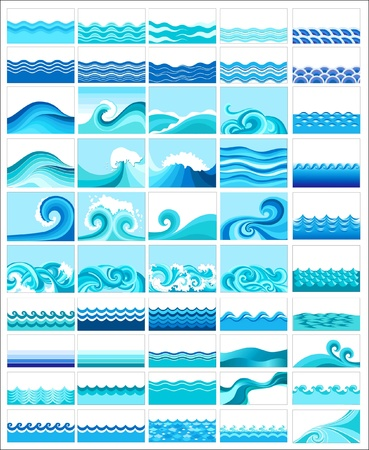 collection of marine waves, stylized design Vector