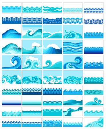 aqueous: raccolta di onde marine, disegno stilizzato Vettoriali