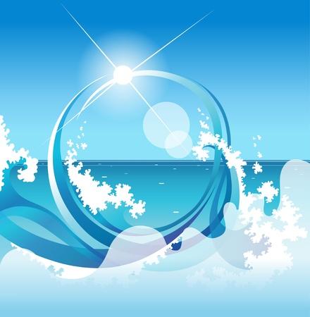 abstract background with sea waves Ilustração
