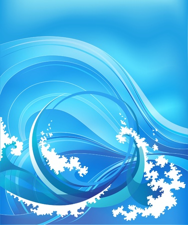 blue wave: abstract background with sea waves Illustration