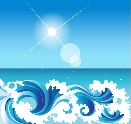 aqueous: abstract background with sea waves Illustration